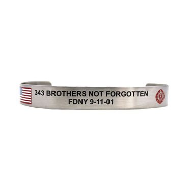 343 Brothers Not Forgotten with American Flag and IAFF Maltese Cross