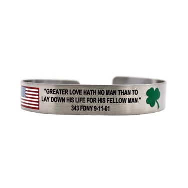"7"" Greater Love Hath No Man 343 FDNY with shamrock"