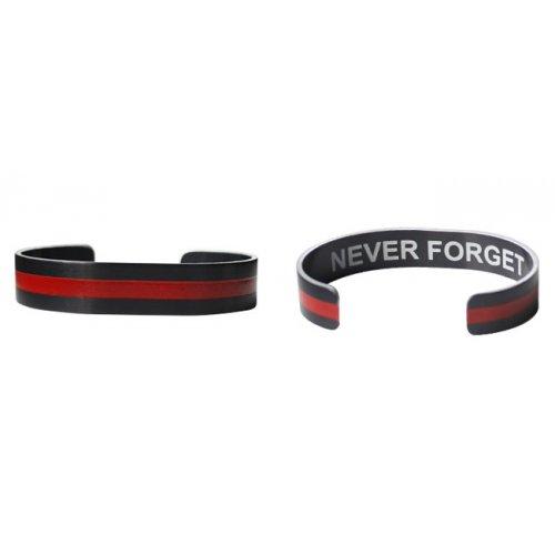 "6"" Small Size Red Line Blk Aluminum Bracelet"