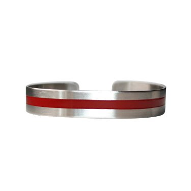 "7"" Red Line on Stainless Steel"