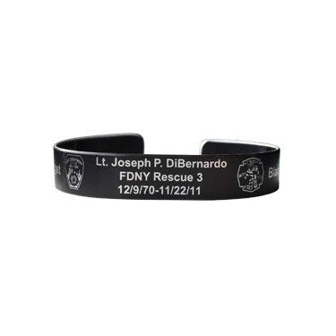 "7"" Lt. Joseph DiBernardo Etched Black Aluminum Bracelet"