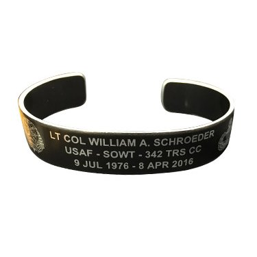 "LT COL WILLIAM A. SCHROEDER 6"" Small Size Black Aluminum Bracelet"
