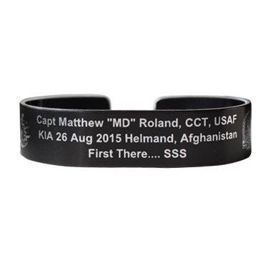 "Capt Matthew ""MD"" Roland 6"" Black Aluminum Bracelet"