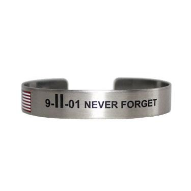 "7"" 9-II-01 NEVER FORGET stainless steel w/colored flag"