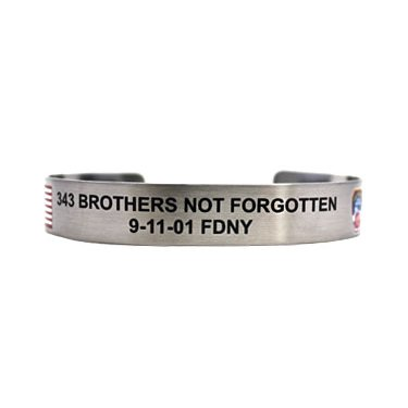 """7"""" 343 Brothers Not Forgotten with colored flag and FDNY patch"""