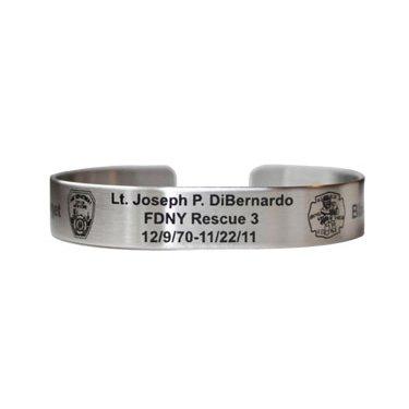 """6"""" Lt. Joseph DiBernardo Etched Stainless Steel Bracelet"""