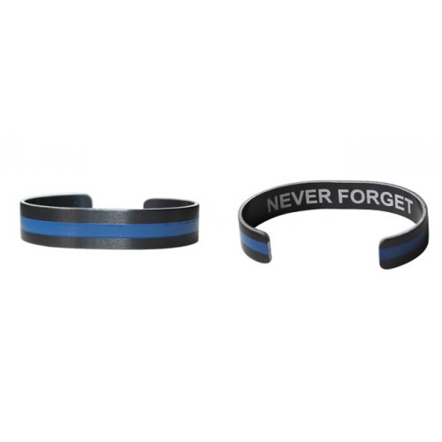 "6"" Small Blue Line on Black Aluminum with Never Forget"