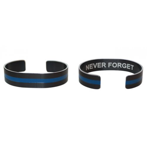 "7""  Blue Line on Black Aluminum with Never Forget"