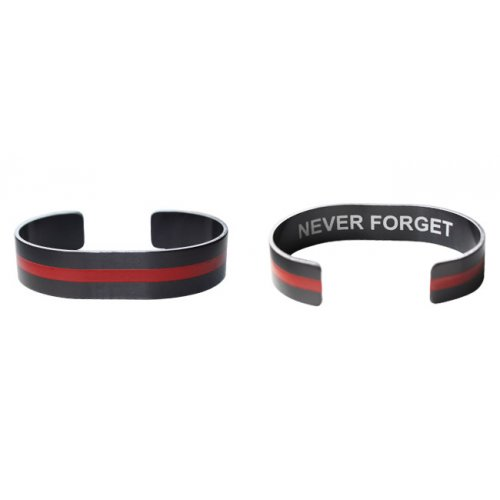 """7"""" Red Line on Black Aluminum with Never Forget"""