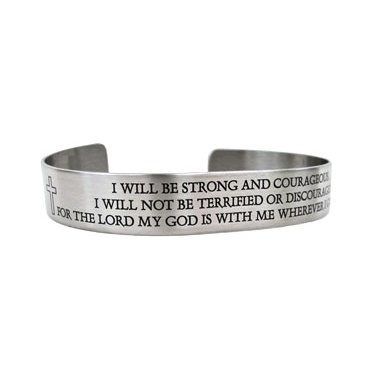 "7"" Scripture Bracelet...I will be strong and courageous...Joshua 1:9"