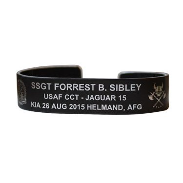 """SIBLEY, SSGT FORREST Bracelet 7"""" Black Aluminum This is a pre-order to ship late May"""