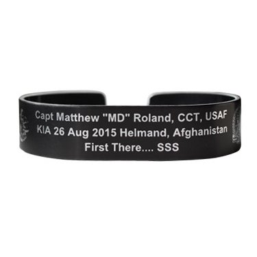 "Roland, Capt Matthew ""MD"" 6"" Black Aluminum Bracelet - This is a pre-order"