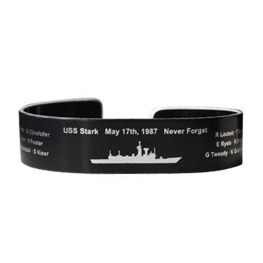 "USS Stark 6"" Small Size Blk Aluminum Bracelet"