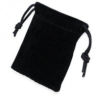 "3"" x 4"" Black Velveteen Drawstring Pouch - only $1"